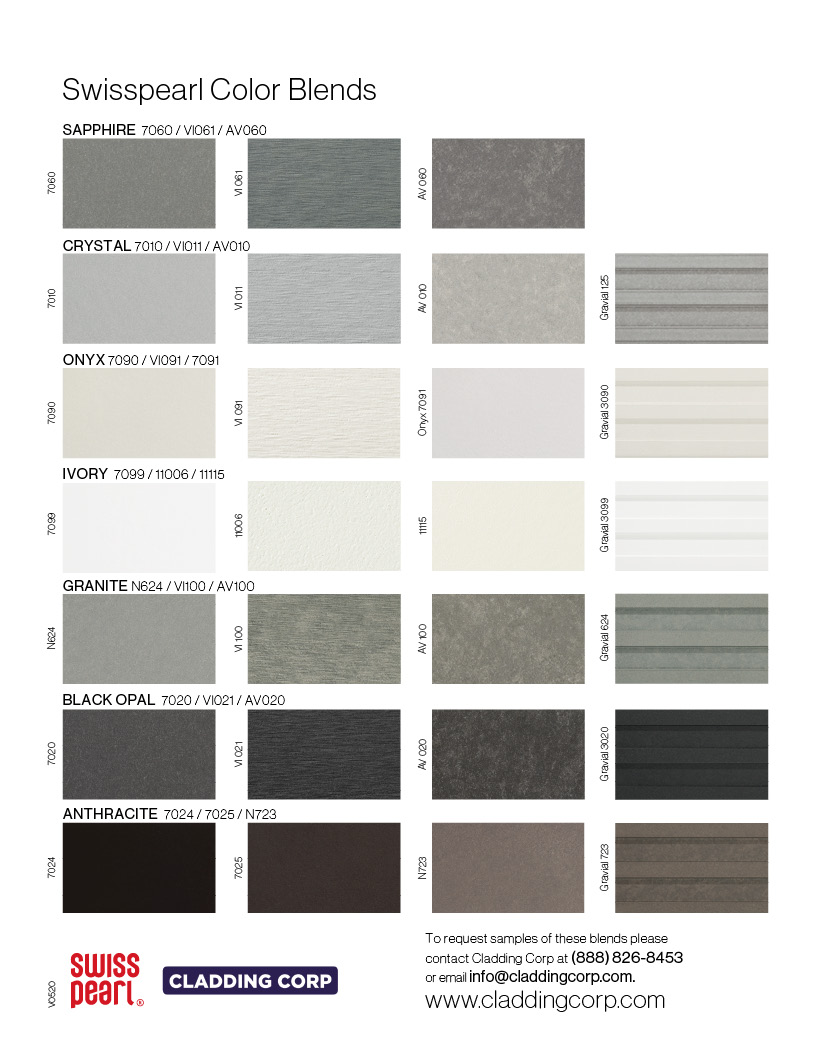 Cladding Corp Swisspearl Color Blends