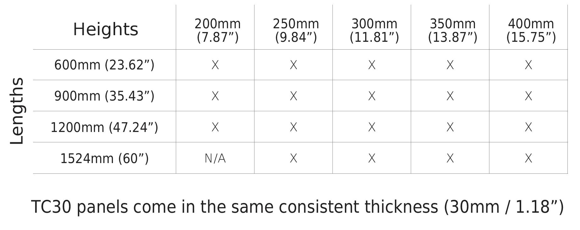 Terra5 TC30 Terracotta Rainscreen Cladding Tile Size Chart